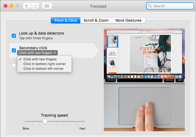 Contextual menus system preferences two fingers 1