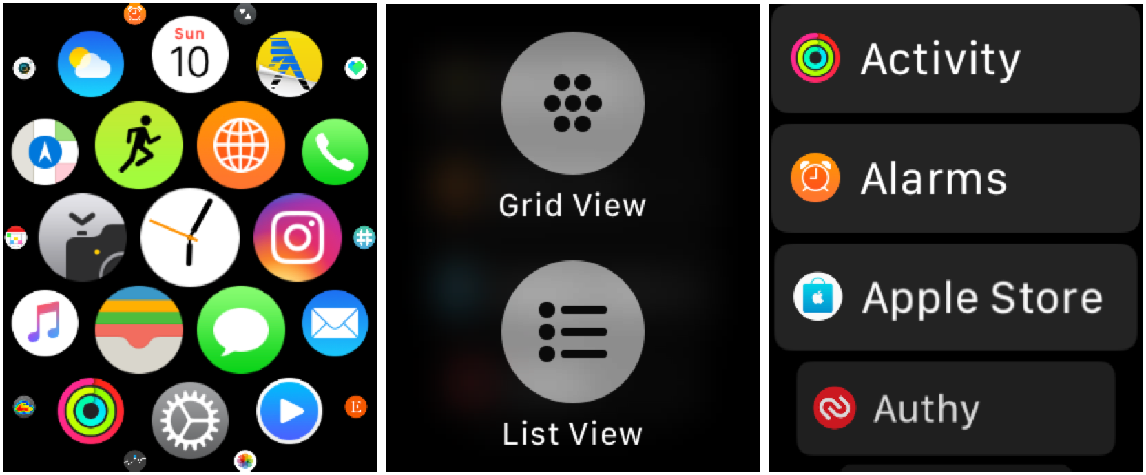watchOS 4 app list