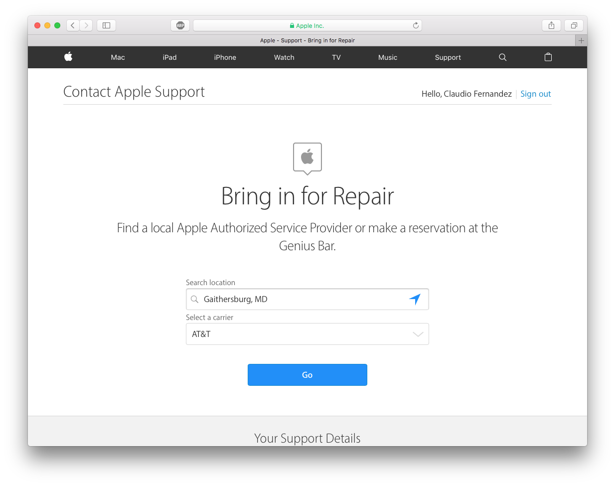 Apple Get Support Page