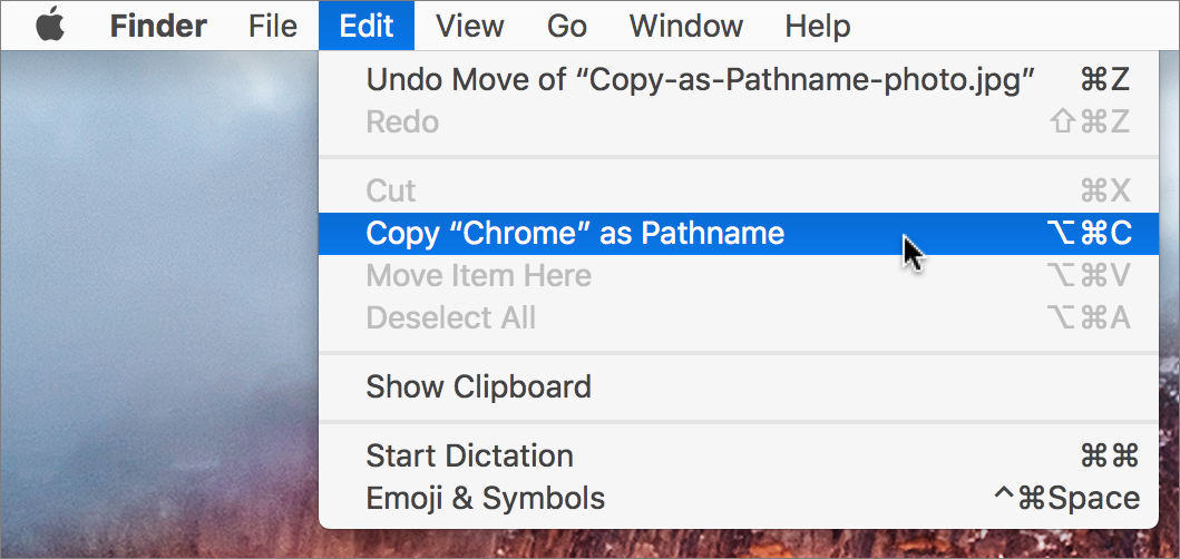 Copy as pathname menu