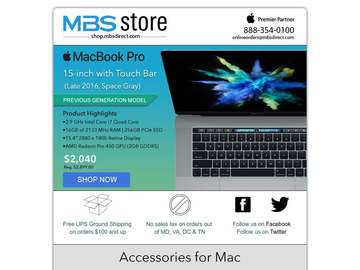 MBS Special: Apple 2016 2.9Ghz 15-inch MacBook Pro $859 Off